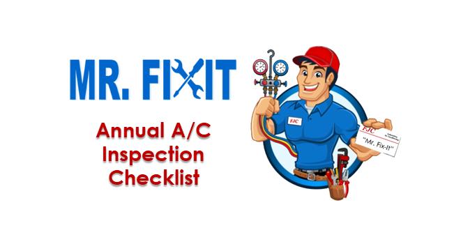 Mr. Fixit:  Annual A/C Inspection Checklist
